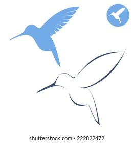 Hummingbird. Icon set. Flying birds on white background. Vector illustration EPS10
