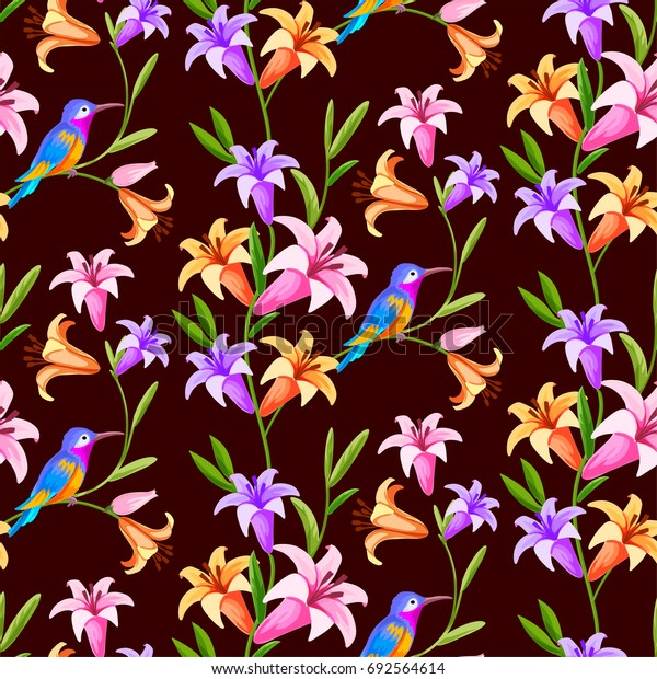Hummingbird and lily flowers seamless pattern background.