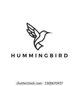 Hummingbird Logo Design Inspiration Vector Stock With Line Outline Monoline Style