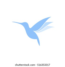 Hummingbird. Logo. Flying hummingbird on white background