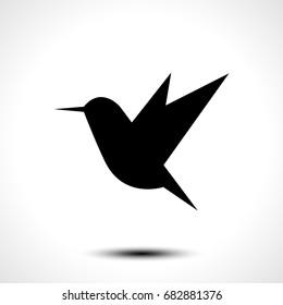 Hummingbird silhouette isolated on white. Vector illustration