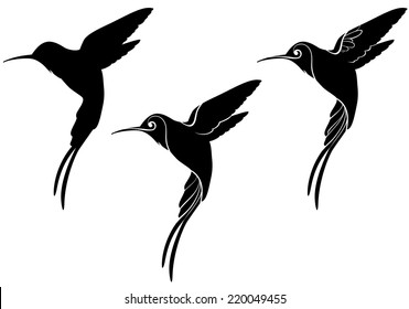 hummingbird silhouettes with different detail
