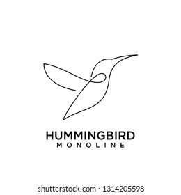 hummingbird simple flat line logo icon designs vector illustration