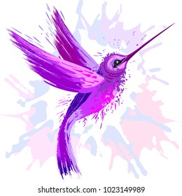 Hummingbird Spirit, Purple and Pink Surreal Creature, Vector Art Technique looking like a watercolor artwork, with paint splats and stains
