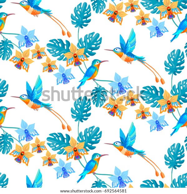 Hummingbird and tropical paradise flowers and palm leaves seamless pattern background.