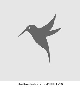 Hummingbird vector icon. Bird simple isolated sign silhouette. Hummingbird logo symbol.