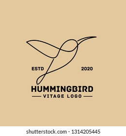 hummingbird vintage line logo icon designs vector illustration