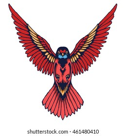 hummingbird vintage tattoo design elements in vector format
