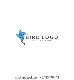 hummingbird/colibri bird logo outline monoline vector icon illustration download