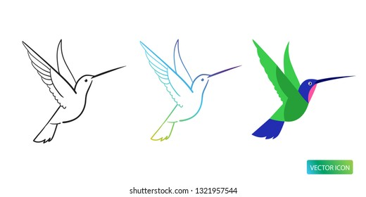 Hummingbirds Icons Or Logo Design Vector Images On White Background.  Isolated line, Color, Flat Vector Image.
