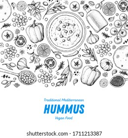 Hummus cooking and ingredients for hummus, sketch illustration. Middle eastern cuisine frame. Healthy food, design elements. Hand drawn, package design. Mediterranean food.
