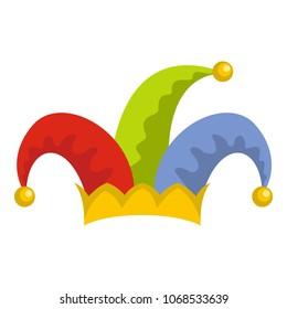 Humor jester joker hat icon. Flat illustration of humor jester joker hat vector icon for web