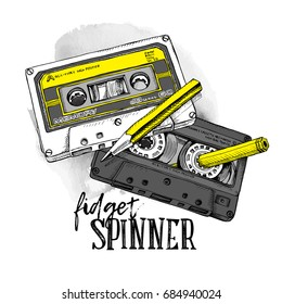 Humor poster with image of a two Audio Cassettes and a yellow pencil. Vector illustration.