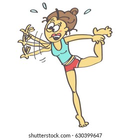 Humorous cartoon of clumsy woman exercising yoga just about to fall down, isolated vector illustration with white background