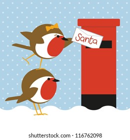 humorous christmas card with cute robins posting a letter to santa