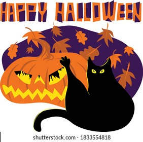 Humorous digital illustration depicting black cat washing its butt with stretched paw in front of a carved Halloween pumpkin with light inside and falling leaves on background. Title Happy Halloween.