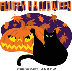 Humorous digital illustration depicting black cat washing its butt with stretched paw in front of a carved Halloween pumpkin with light inside and falling leaves on background. Title Fluffy Halloween.
