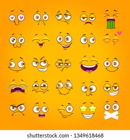 Humorous emoji set. Emoticon face collection. Funny cartoon comic faces on yellow background. Vector illustration.