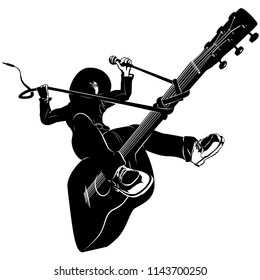A humorous vector illustration of a comic book cowboy wrestling down his wild guitar. Single color and perfect for all of your country,  western,  and rock-a-billy band needs.