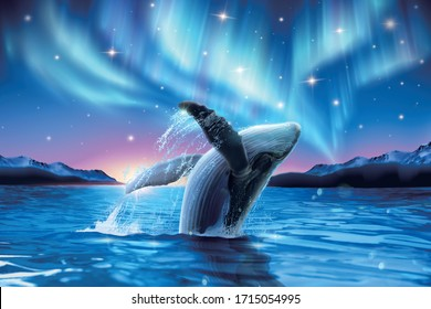 Humpback whale breaching water with breathtaking aurora shimmering on dreamy starry background, 3d illustration