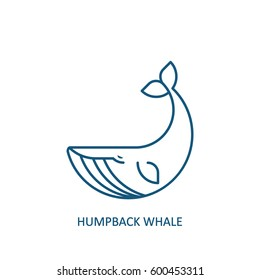 Humpback whale icon. Ocean giant logo. Vector illustration, EPS 8.