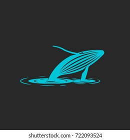 Humpback whale jump out water, silhouette blue whale with ripples water,  illustration characterizes freedom animal. T-shirt print emblem, logo mockup naturally protective organization, foundation.