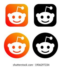 Humpolec, Czech Republic - November 08, 2020: Reddit - button for social media, phone icon symbol logo of Reddit. Editorial web .