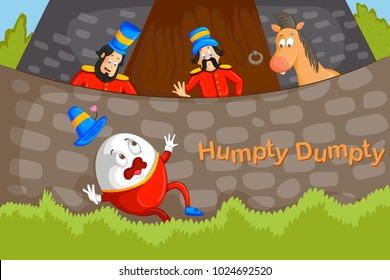 Humpty Dumpty,Kids English Nursery Rhymes book illustration in vector