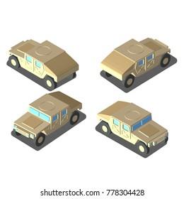 Humvee. color sand, desert. The combat car. 4 angle.