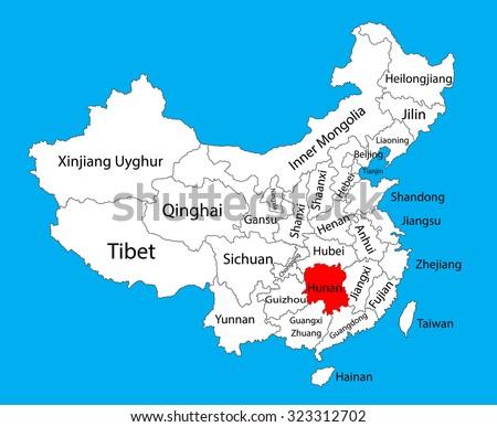 Hunan Province Map China Vector Map Stock Vector Royalty Free