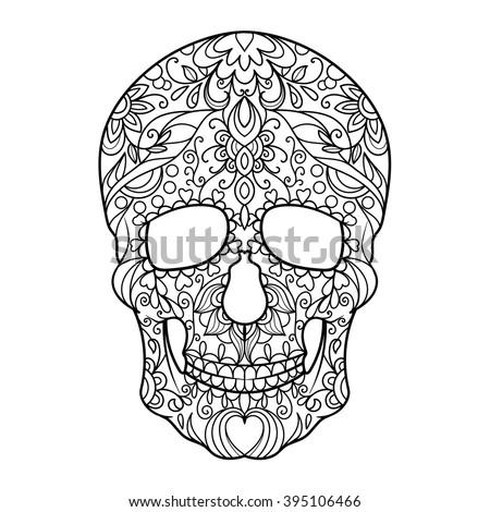 Hunan Skull Coloring Book Adults Vector Stock Vector Royalty Free