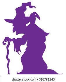 hunched old witch with a crooked stick and crow on his shoulder - cartoon halloween character