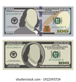 Hundred dollar bills in new and old design from the front side. 100 US dollars banknotes. Vector illustration of USD isolated on a white background