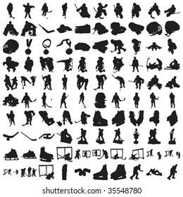 Hundred Hockey Silhouettes