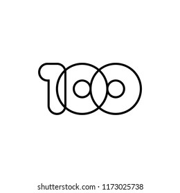 Hundred, mono line. Vector sign linear number 100, black overlapping thin lines isolated on white background. Three rounded figures. Text composition design concept. Creative outline symbol.