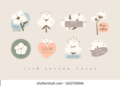 Hundred percent Cotton Logos, icons. Various Cotton flower plants, fluffy balls. Natural Eco organic textile, fabric concept. Hand drawn Vector set. Trendy illustration. All elements are isolated