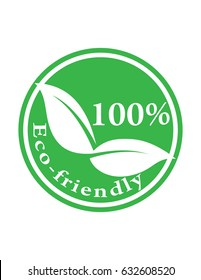 Hundred percent Eco-friendly product green vector sign logo