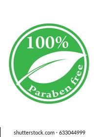 Logo für hundertprozentige Paraben auf grünem Vektorsymbol