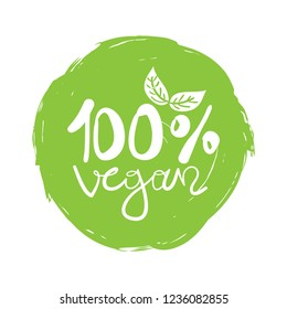 Hundred percent vegan sign design element for stickers, product labels and other uses