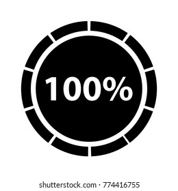 Hundred percentage circle icon, 100 percent