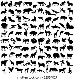 Hundred silhouettes of wild animals, birds and reptiles