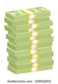 Hundreds dollar banknotes stacks on a white background. Vector illustration.