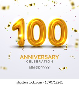 Hundredth Anniversary Celebration Number Vector. Template Of Invitation Postcard On Centenary Jubilee Of Birthday Decorated Golden Number Hundred And Flying Colorful Tinsel. Illustration
