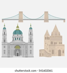 Hungarian City sights in Budapest. Hungary Landmark Global Travel And Journey Architecture Elements Chain Bridge, Fisherman's bastion, St. Istvan basilica