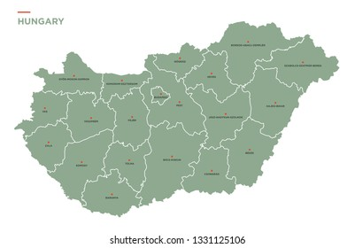 Hungarian counties and administrative map of Hungary.