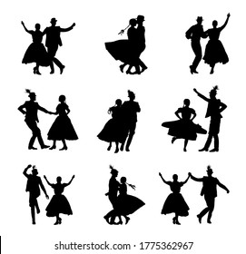 Hungarian csardas folk dancers couple in love vector silhouette. Germany folklore October fest actors. Austrian traditional wedding culture from East Europe. Balkan dancing. Woman and man festival.