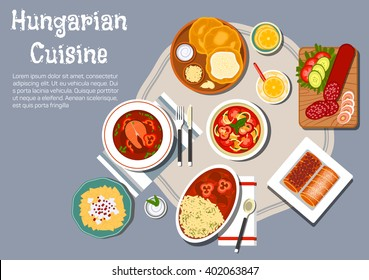 Hungarian cuisine fried bread langos with cream and cheese, served with salami, egg noodles with cheese and meat stew, fish soup with paprika pepper, vegetable salad and stove cakes with lemonade