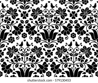 Hungarian folk art seamless background - Kalocsa floral embroidery design