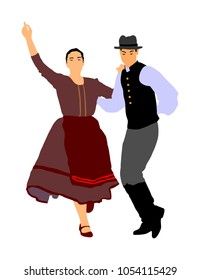 Hungarian folk dancers couple vector illustration. Germany folk dancer couple in love. Austrian folk dancers couple. East Europe folklore. Balkan folk dancing. Traditional wedding folklore event.