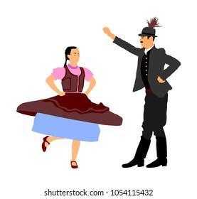 Hungarian folk dancers couple vector illustration. Germany folk dancer couple in love. Austrian folk dancers couple. East Europe folklore. Balkan folk dancing. Traditional wedding folklore event.